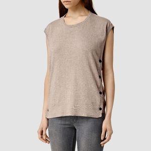 All Saints Alna Silk Tee Sleeveless Sweater Size M
